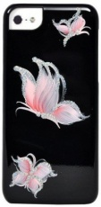 Чехол для iPhone 5C iCover Hand Printing Pure Butterfly Black Pink (IPM-HP/BK-PB/P)