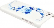 Чехол для iPhone 5C iCover Hand Printing Vintage Rose White Blue (IPM-HP/W-VR/BL)