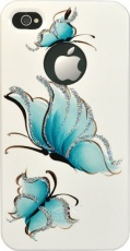 Чехол для IPhone 4/4S iCover Hand Printing Pure Butterfly White/Sky Blue (IP4-HP/W-PB/SB)