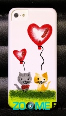 Чехол для iPhone 5C iCover Cats Hand printing 03 (IPM-HP/W-CO03)