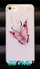Чехол для iPhone 5C iCover Hand Printing Happy Butterfly White (IPM-HP-HB/W)