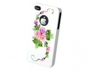 Чехол для IPhone 4/4S iCover Hand Printing Vintage Rose White/Purple (IP4-HP/W-VR/PP)
