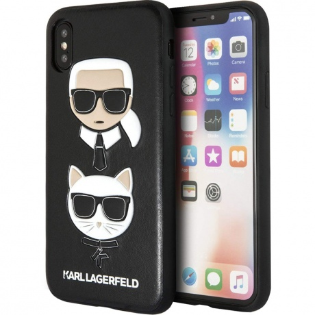 Чехол для iPhone XS Max Karl Lagerfeld Karl and Choupette черный фото
