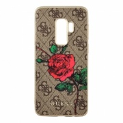 Чехол для Samaung Galaxy S9 Guess Hard Flower Desire Roses Brown