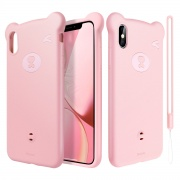 Чехол для iPhone XS Max Baseus Bear Silicone Case Pink