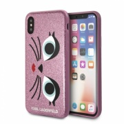 Чехол для iPhone X/XS Lagerfeld Double layer Glam choupette Hard Glitter Pink (KLHCPXGLCHPI)