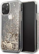 Чехол для iPhone 11 Pro Guess Liquid glitter hard hearts Gold (GUHCN58GLHFLGO)