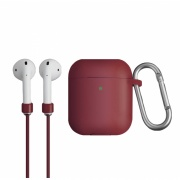 Чехол для Airpods Uniq Vencer (2019) Hang case с карабином Moroon (AIRPODS(2019)-VENMRN)